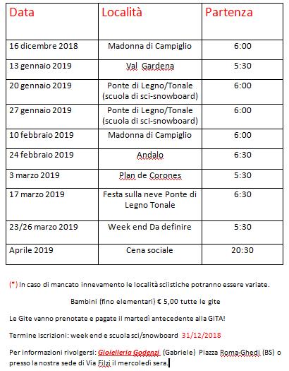 Sci Calendario.Calendario Gite 2018 2019 Sci Club Ghedi